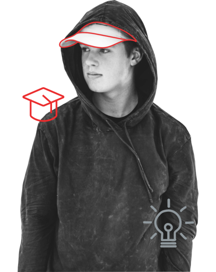 hooded youth with hat